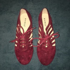 """Red/Maroon """"suede"""" cut out shoes"""